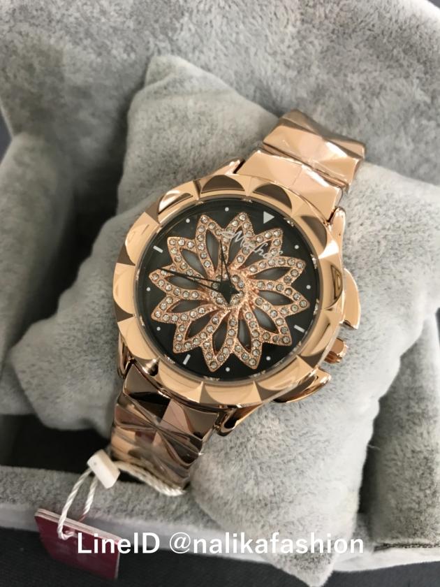 นาฬิกา Mashali แฟชั่น แบรนผู้หญิง ของแท้ รีวิว หน้าปัดหมุน ๆ ดอกไม้ MA88115